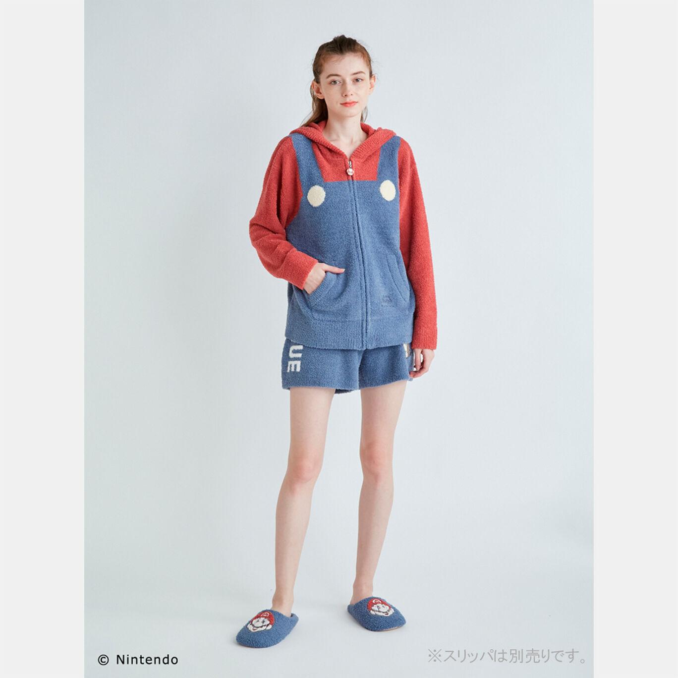【スーパーマリオ】レディースパーカー&ショートパンツセット Blue(マリオ)F【SUPER MARIO meets GELATO PIQUE】