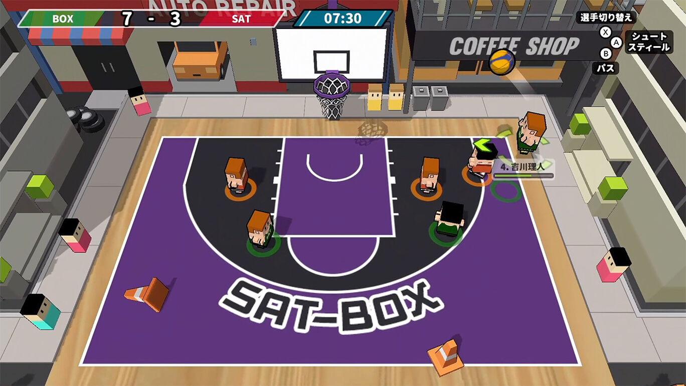 机でバスケ