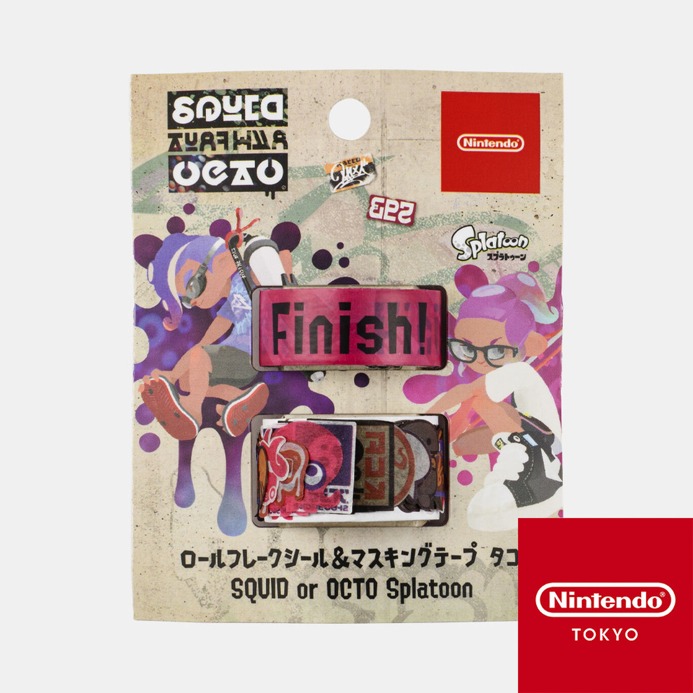 ロールフレークシール&マスキングテープ タコ SQUID or OCTO Splatoon【Nintendo TOKYO取り扱い商品】