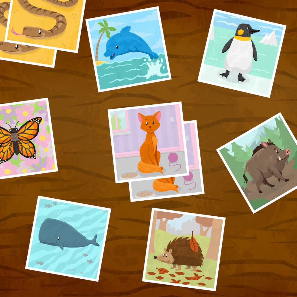 キッズプレイ 動物カード マッチングゲーム / 神経衰弱トランプゲーム