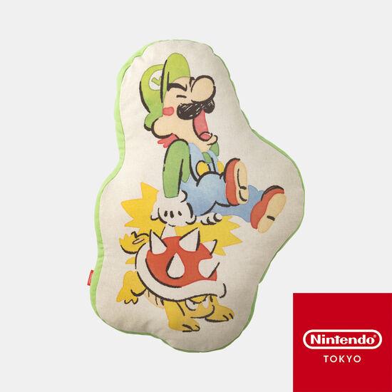 ダイカットクッション スーパーマリオファミリーライフ ルイージ【Nintendo TOKYO取り扱い商品】