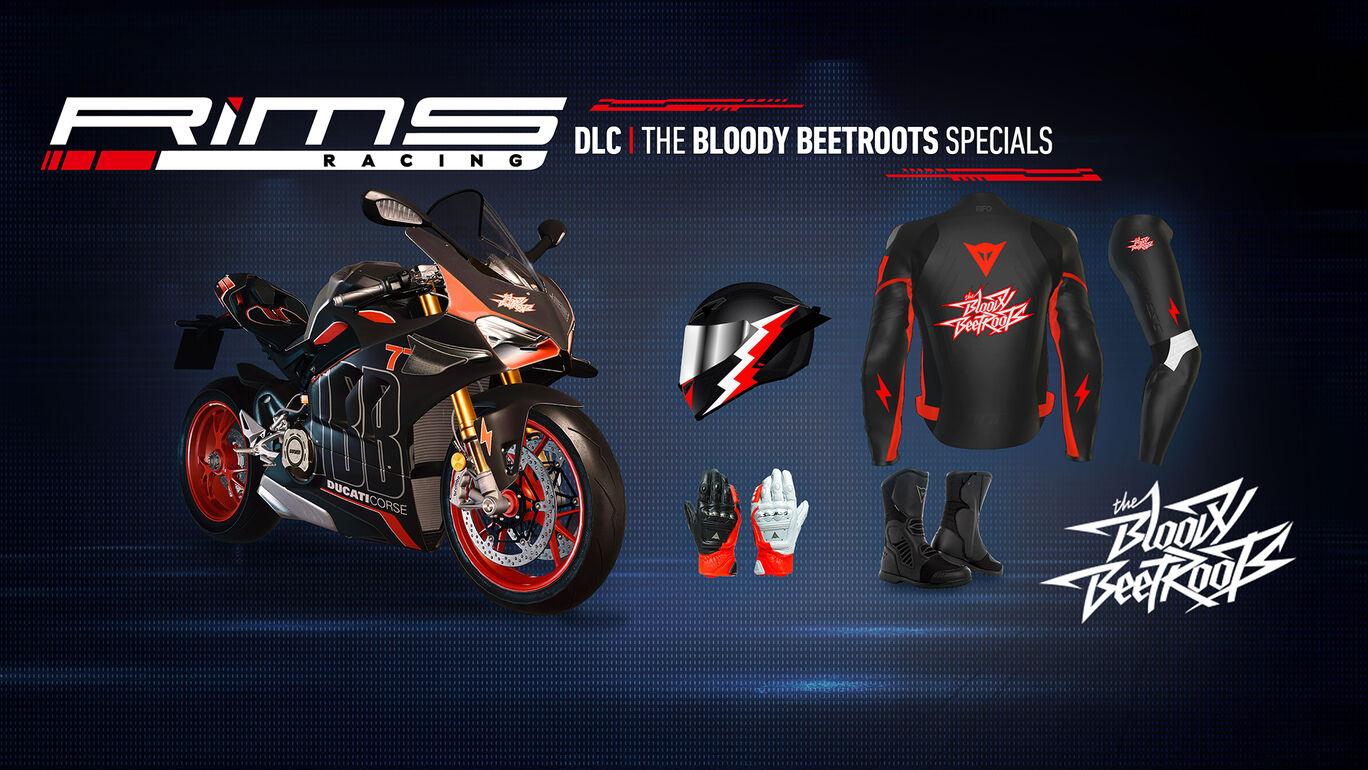リムズ レーシング:The Bloody Beetrootsバイク外観&ライダーアイテム